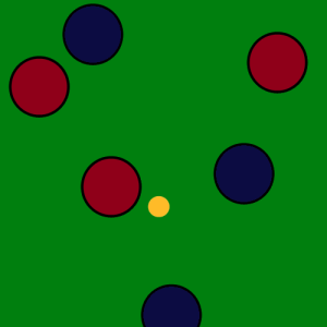 One point is scored by red team because a blue balls is the second closest ball in play.