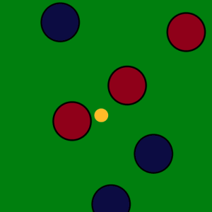Two points are scored by the red team. The two red balls are closer than all of the blue balls.